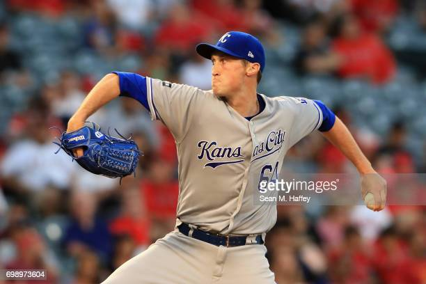 Matt Strahm of the Kansas City Royals pitches during a game against the Los Angeles Angels of Anaheim at Angel Stadium of Anaheim on June 15 2017 in...