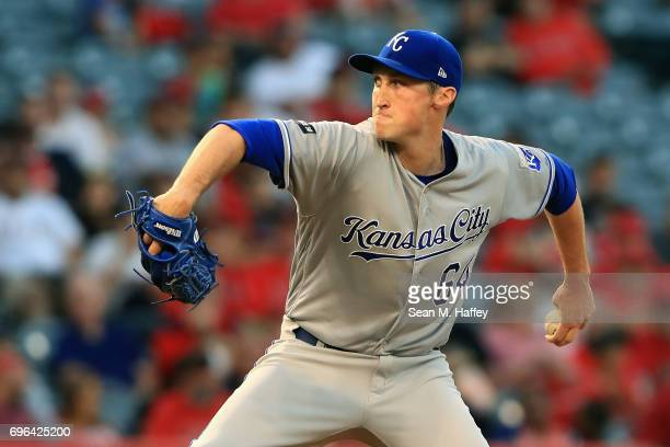 Matt Strahm of the Kansas City Royals pitches during the second inning of a game against the Los Angeles Angels of Anaheim at Angel Stadium of...