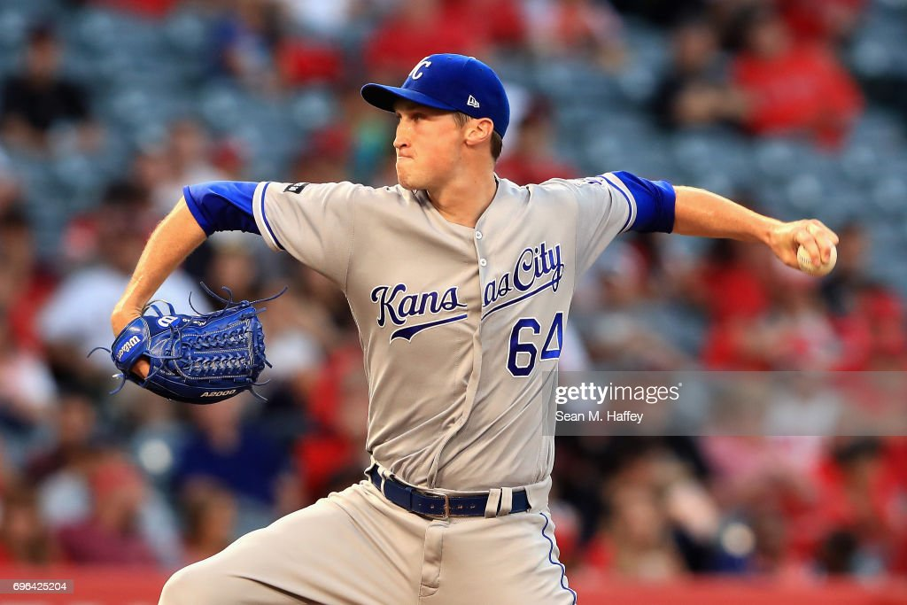 Matt Strahm #64 of the Kansas City Royals pitches during the second inning of a game against the Los Angeles Angels of Anaheim at Angel Stadium of Anaheim on June 15, 2017 in Anaheim, California.