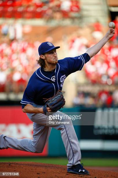 Matt Strahm of the San Diego Padres delivers a pitch against the St Louis Cardinals in the first inning at Busch Stadium on June 12 2018 in St Louis...