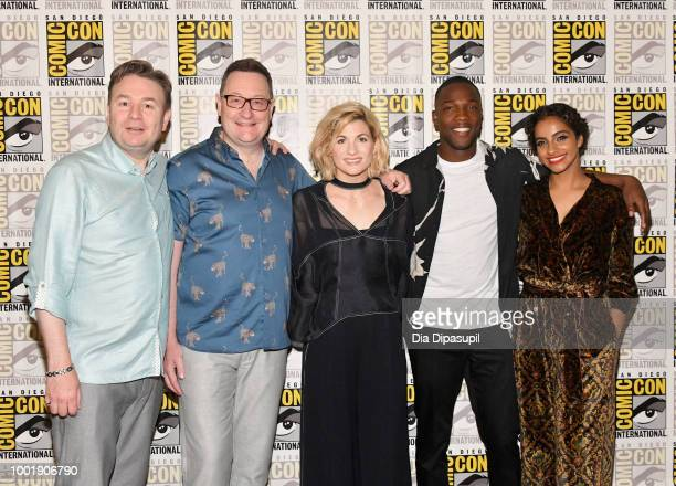 Matt Strevens Chris Chibnall Jodie Whittaker Tosin Cole and Mandip Gill attend BBC America's 'Doctor Who' Press line during ComicCon International...