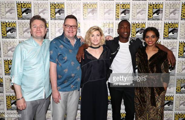Matt Strevens Chris Chibnall Jodie Whittaker Tosin Cole and Mandip Gill pose during the Doctor Who BBC America's Official panel during ComicCon...