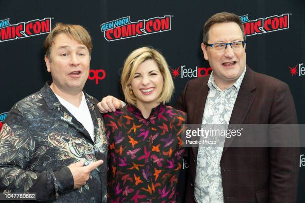 Matt Strevens Jodie Whittaker Chris Chibnall attends photocall for Doctor WHO new season during New York Comic Con at Jacob Javits Center