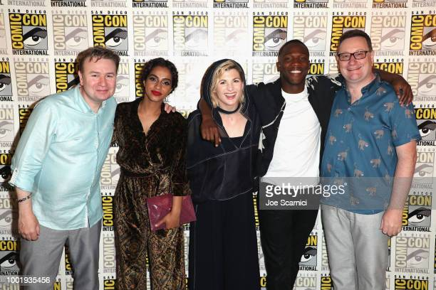 Matt Strevens Mandip Gill Jodie Whittaker Tosin Cole and Chris Chibnall attend BBC America's 'Doctor Who' at ComicCon International 2018 at San Diego...