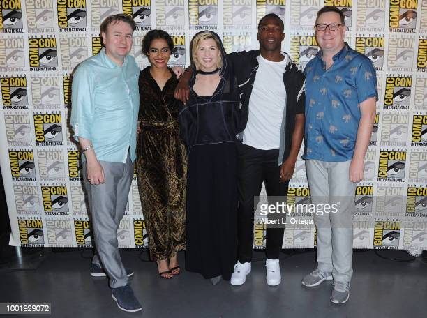 Matt Strevens Mandip Gill Jodie Whittaker Tosin Cole and Chris Chibnall pose during the Doctor Who BBC America's Official panel during ComicCon...