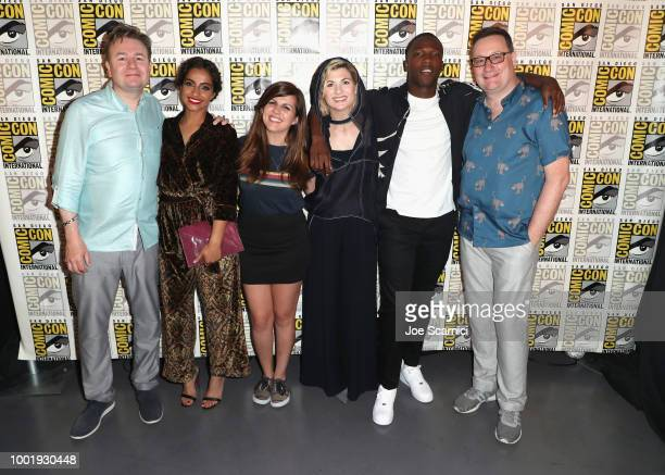 Matt Strevens Mandip Gill Terri Schwartz Jodie Whittaker Tosin Cole and Chris Chibnall pose during the Doctor Who BBC America's Official panel during...