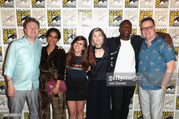 Matt Strevens Mandip Gill Terri Schwartz Jodie Whittaker Tosin Cole and Chris Chibnall attend BBC America's 'Doctor Who' at ComicCon International...