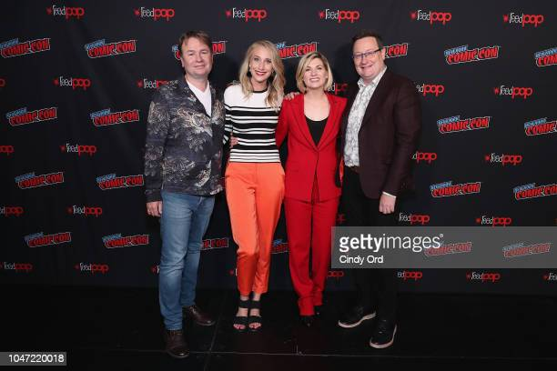 Matt Strevens Maude Garrett Jodie Whittaker and Chris Chibnall attend BBC America's Doctor Who Global Premiere at New York Comic Con on October 7...