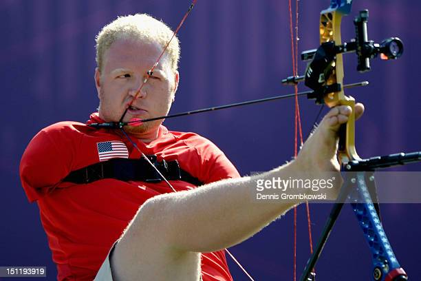 Matt Stutzman of the United States competes in the Men's Individual Compound Archery Open on day 5 of the London 2012 Paralympic Games at The Royal...