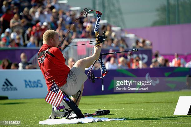 Matt Stutzman of the United States competes in the Men's Individual Compound Archery - Open on day 5 of the London 2012 Paralympic Games at The Royal...