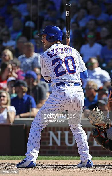 Matt Szczur of the Chicago Cubs bats against the San Francisco Giants at Wrigley Field on September 2 2016 in Chicago Illinois