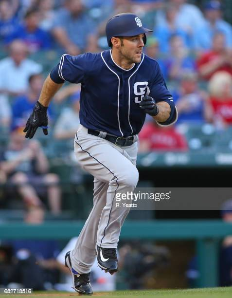 Matt Szczur of the San Diego Padres hits in the first inning against the Texas Rangers at Globe Life Park in Arlington on May 11 2017 in Arlington...