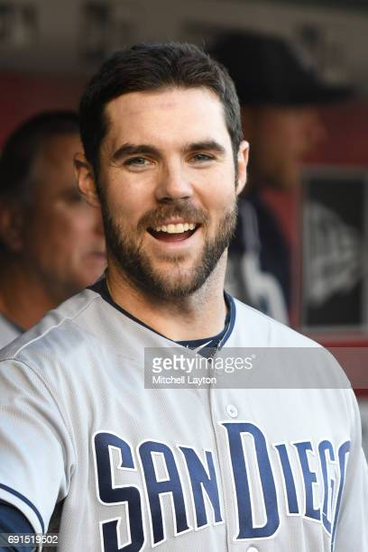 Matt Szczur of the San Diego Padres looks on before a baseball game against the Washington Nationals at Nationals Park on May 26 2017 in Washington...