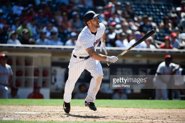 Matt Szczur of the San Diego Padres plays during a baseball game against the Cincinnati Reds at PETCO Park on June 14 2017 in San Diego California