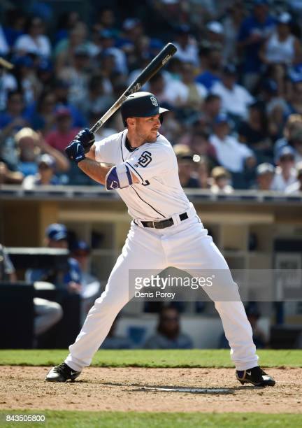 Matt Szczur of the San Diego Padres plays during a baseball game against the Los Angeles Dodgers at PETCO Park on September 2 2017 in San Diego...