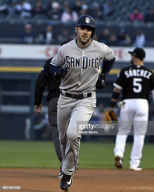 Matt Szczur of the San Diego Padres runs the bases after hitting a home run against the Chicago White Sox during the first inning on May 12 2017 at...