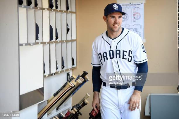 Matt Szczur of the San Diego Padres waits in the dugout prior to the game against the Texas Rangers at Petco Park on May 9 2017 in San Diego...