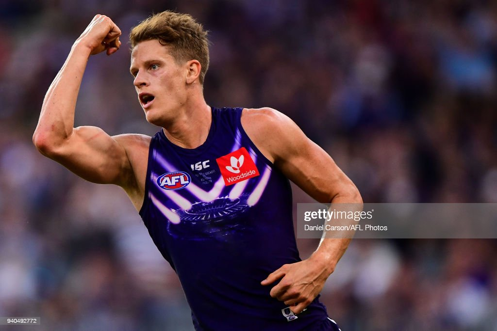 Matt Taberner of the Dockers celebrates a goal during the 2018 AFL round 02 match between the Fremantle Dockers and the Essendon Bombers at Optus Stadium on March 31, 2018 in Perth, Australia.
