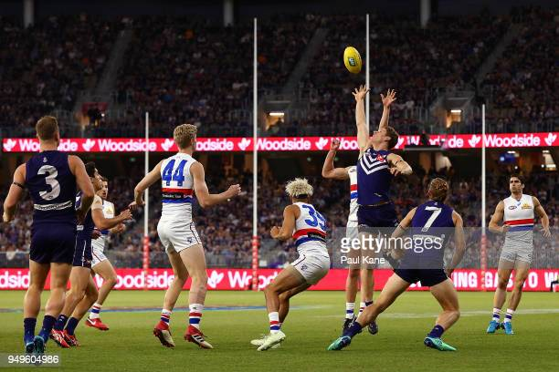 Matt Taberner of the Dockers contest for a mark during the round five AFL match between the Fremantle Dockers and the Western Bulldogs at Optus...