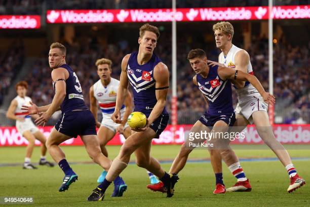 Matt Taberner of the Dockers looks to pass trhe ball during the round five AFL match between the Fremantle Dockers and the Western Bulldogs at Optus...