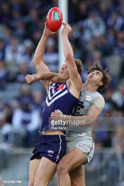 Matt Taberner of the Dockers marks the ball against Caleb Marchbank of the Blues during the round 21 AFL match between the Fremantle Dockers and the...