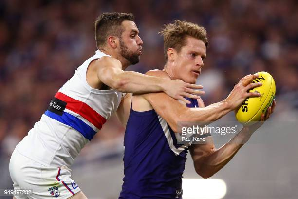 Matt Taberner of the Dockers marks the ball against Matthew Suckling of the Bulldogs during the round five AFL match between the Fremantle Dockers...
