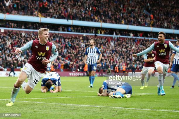 Matt Targett of Aston Villa celebrates after scoring his team's second goal during the Premier League match between Aston Villa and Brighton Hove...