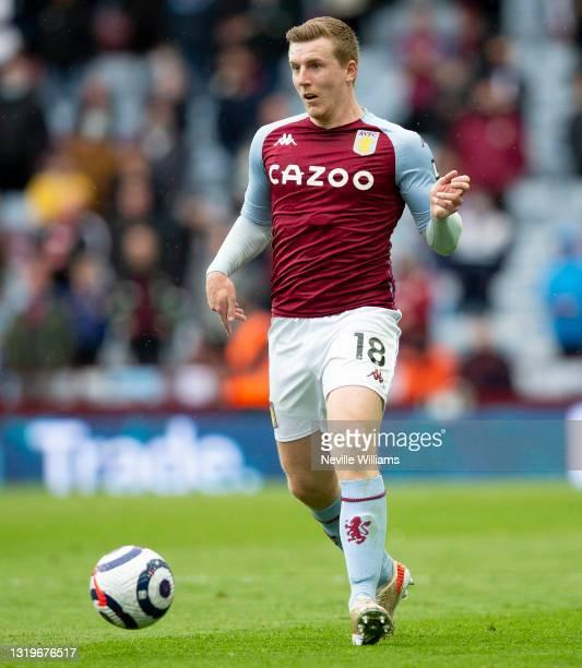 Matt Targett of Aston Villa in action during the Premier League match between Aston Villa and Chelsea at Villa Park on May 23, 2021 in Birmingham,...