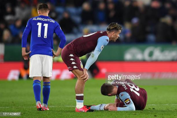Matt Targett of Aston Villa is injured during the Premier League match between Leicester City and Aston Villa at The King Power Stadium on March 09...