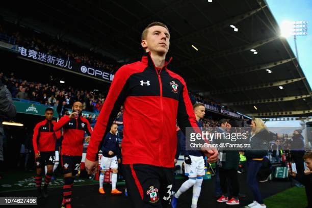 Matt Targett of Southampton FC walks out before the Premier League match between Huddersfield Town and Southampton FC at John Smith's Stadium on...