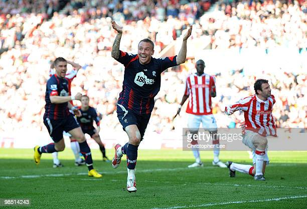 Matt Taylor of Bolton celebrates after scoring their winning 21 goal during the Barclays Premier League match between Stoke City and Bolton Wanderers...