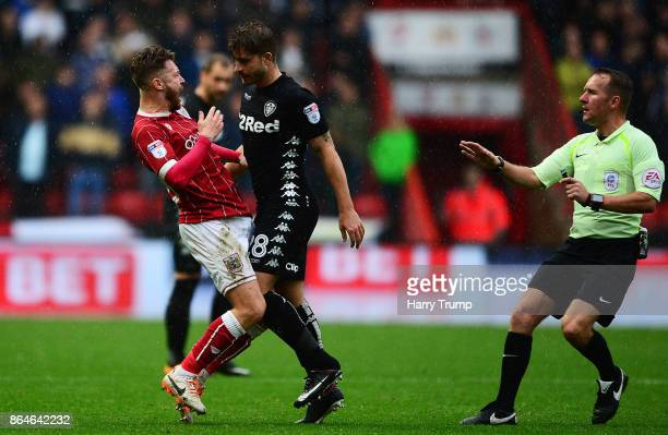 Matt Taylor of Bristol City and Gaetano Berardi of Leeds United clash resulting in red cards for both during the Sky Bet Championship match between...