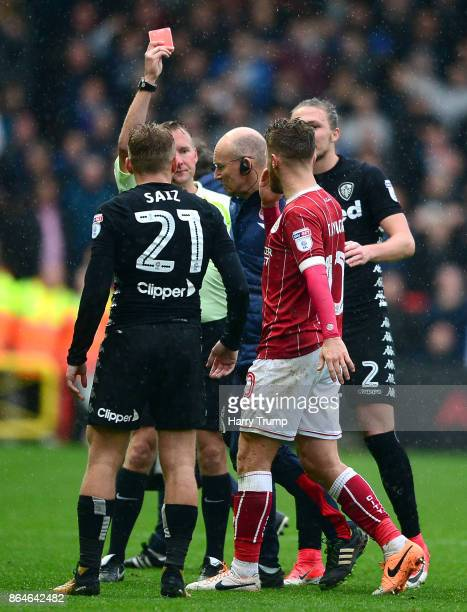 Matt Taylor of Bristol City is shown a red card during the Sky Bet Championship match between Bristol City and Leeds United at Ashton Gate on October...