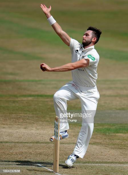 Matt Taylor of Gloucestershire bowls during Day Two of the Specsavers County Championship Division Two match between Gloucestershire and Durham at...