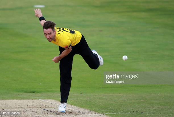 Matt Taylor of Gloucestershire bowls during the T20 Vitality Blast 2020 match between the Northamptonshire Steelbacks and Gloucestershire at The...