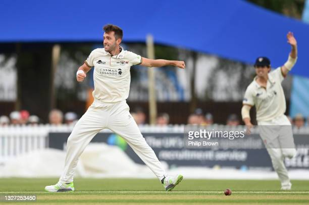 Matt Taylor of Gloucestershire celebrates after dismissing Joshua De Caires of Middlesex during the LV= Insurance County Championship match between...