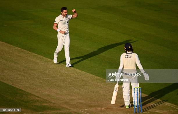 Matt Taylor of Gloucestershire celebrates taking the wicket of Peter Handscomb of Middlesex during Day Two of the LV= Insurance County Championship...