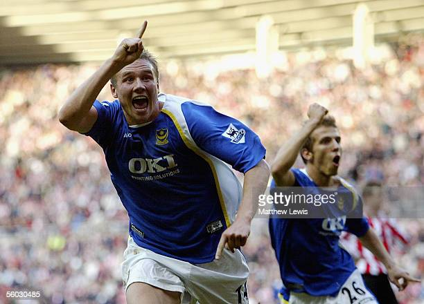 Matt Taylor of Portsmouth celebrates his goal during the Barclays Premiership match between Sunderland and Portsmouth at the Stadium of Light on...
