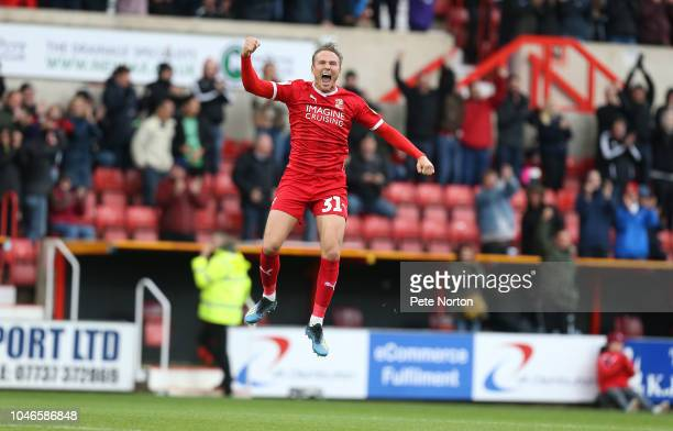Matt Taylor of Swindon Town celebrates after scoring his sides goal during the Sky Bet League Two match between Swindon Town and Northampton Town at...