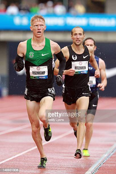 Matt Tegenkamp and Dathan Ritzenhein compete in the men's 10000 meter final during Day One of the 2012 US Olympic Track Field Team Trials at Hayward...
