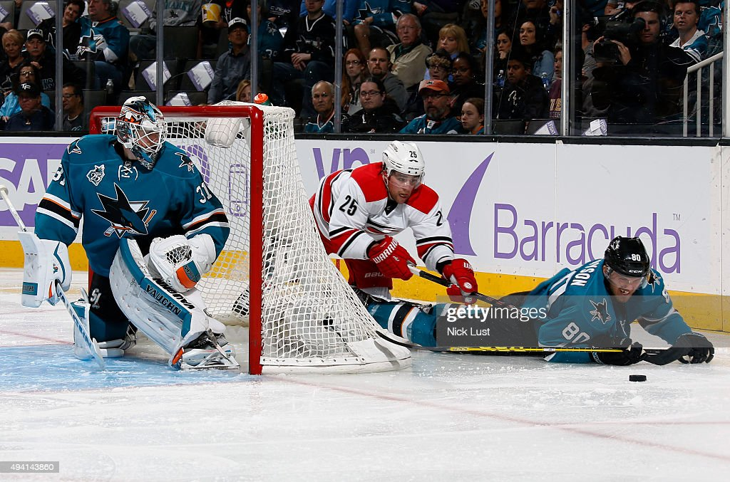 Matt Tennyson #80 and Martin Jones #31 of the San Jose Sharks defend the net against Chris Terry #25 of the Carolina Hurricanes during a NHL game at the SAP Center at San Jose on October 24, 2015 in San Jose, California.