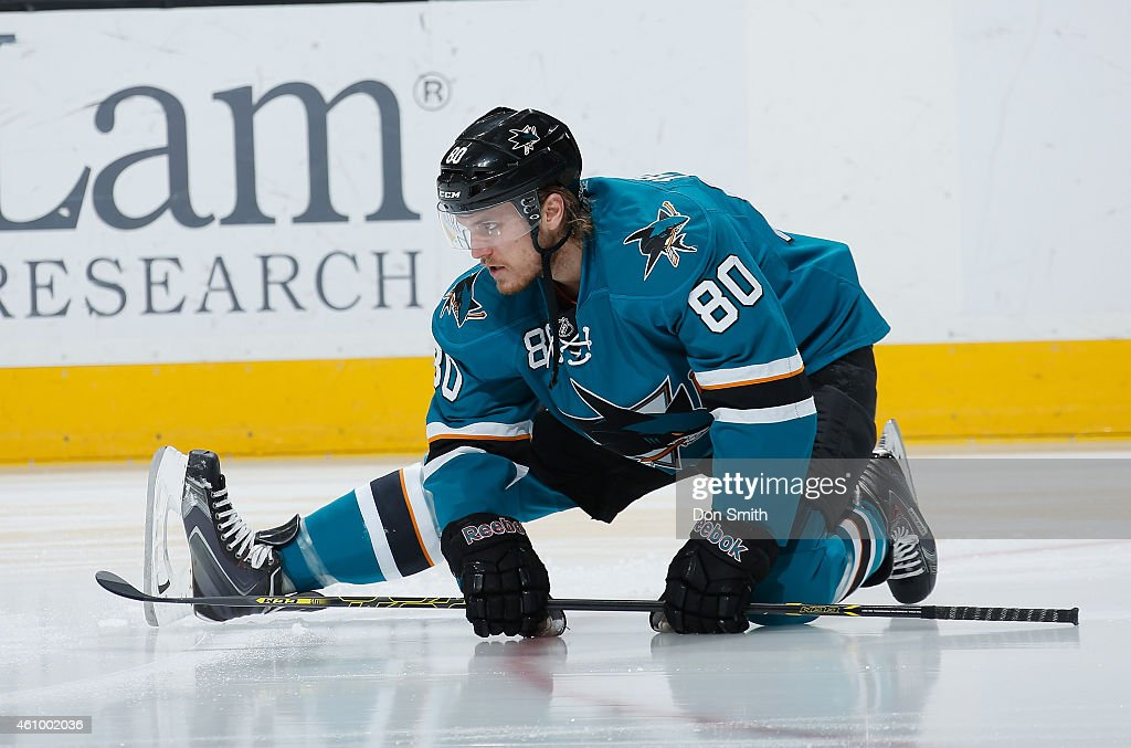 Matt Tennyson #80 of the San Jose Sharks gets loose during pre-game warm ups againstthe St. Louis Blues during an NHL game on January 3, 2015 at SAP Center in San Jose, California.