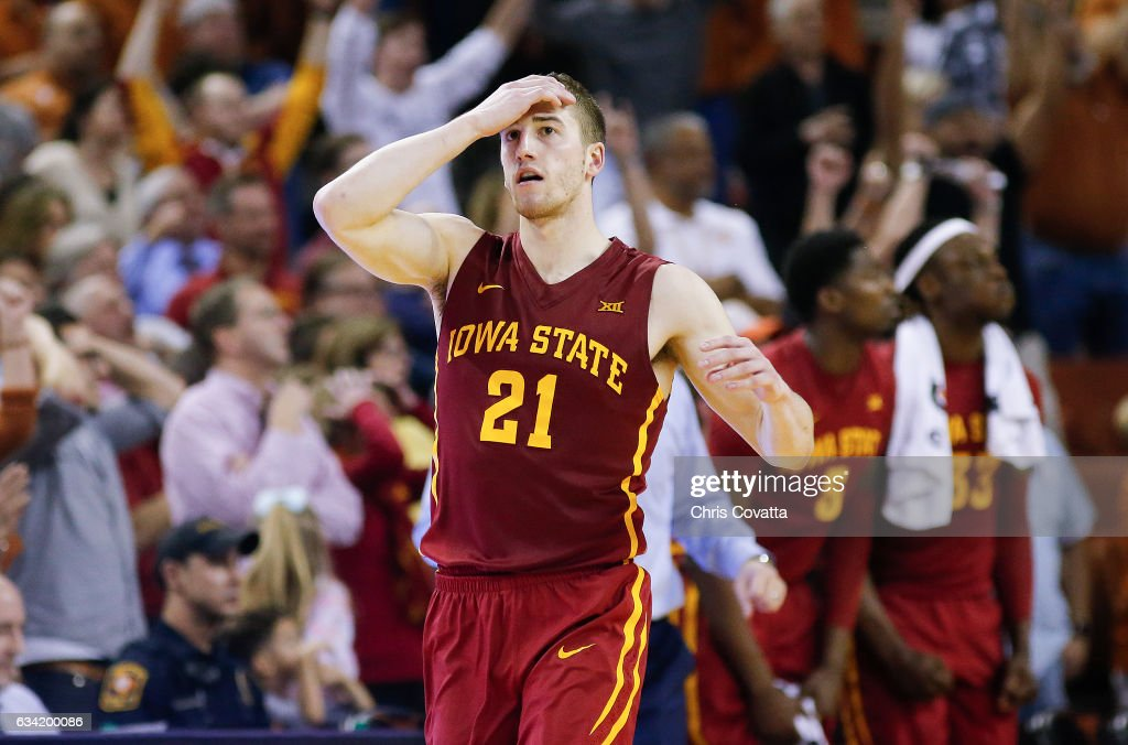 Matt Thomas #21 of the Iowa State Cyclones reacts as his team is defeated by the Texas Longhorns 67-65 at the Frank Erwin Center on February 7, 2017 in Austin, Texas.