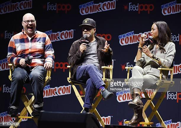 Matt Thompson H Jon Benjamin Aisha Tyler speak at Archer panel during day 1 of 2016 New York Comic Con at Hammerstein Ballroom on October 6 2016 in...