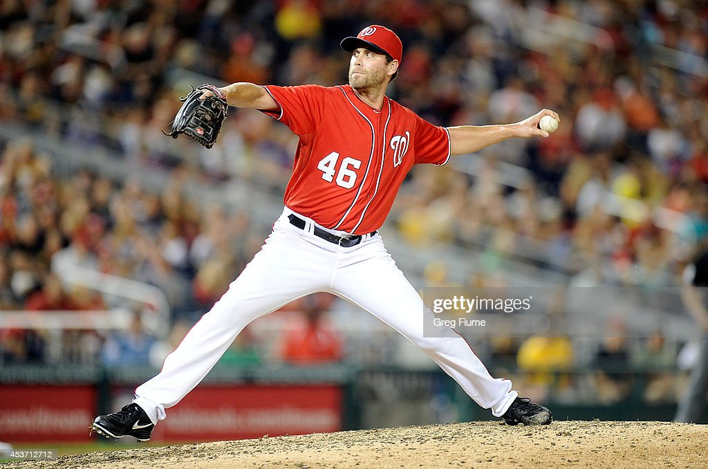 Matt Thornton #46 of the Washington Nationals pitches in the ninth inning against the Pittsburgh Pirates at Nationals Park on August 16, 2014 in Washington, DC.