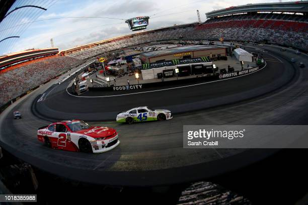 Matt Tifft driver of the Nexteer Chevrolet and Josh Bilicki driver of the Prevagen Toyota race during the NASCAR Xfinity Series Food City 300 at...