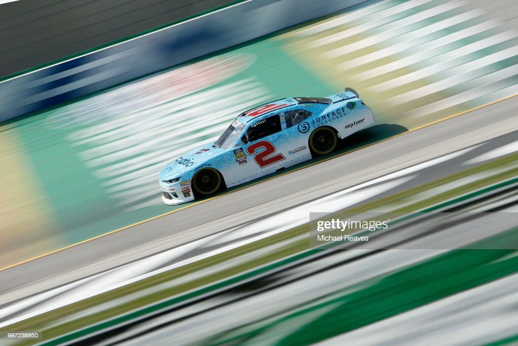 Matt Tifft, driver of the #2 Surface Sunscreen Chevrolet, practices for the NASCAR Xfinity Series Alsco 300 at Kentucky Speedway on July 12, 2018 in Sparta, Kentucky.