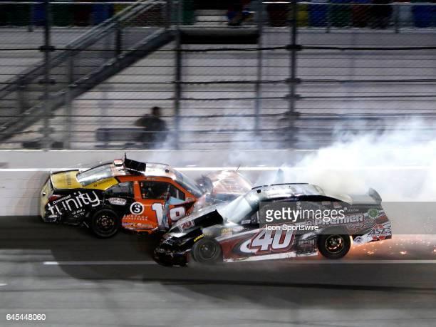 Matt Tifft Joe Gibbs Racing Tunity Toyota Camry Brandon Hightower Toyotoa Camry crash on the final lap of the NASCAR Powershares QQQ 300 Xfinity...