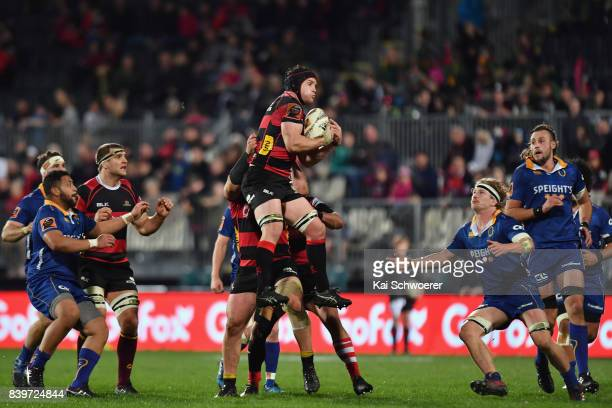 Matt Todd of Canterbury catches a ball during the round two Mitre 10 Cup match between Canterbury and Otago on August 27 2017 in Christchurch New...