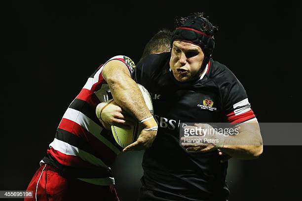 Matt Todd of Canterbury charges forward during the round six ITM Cup match between Counties Manukau and Canterbury at ECOLight Stadium on September...